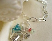 Reserved for Nicole - Pewter watering can charm with flowers