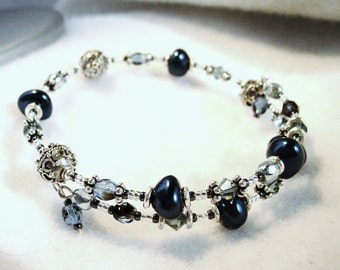Blue pearl and sterling silver Bali bead bracelet