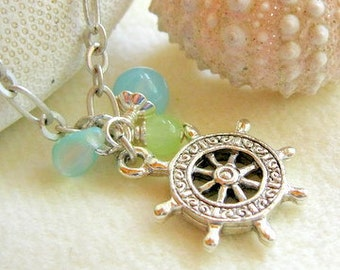 Pewter ships wheel charm necklace