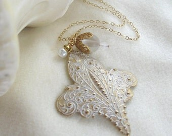 Fancy Etched Gold Pendant on gold fill chain