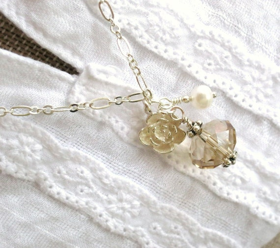 Champagne crystal beaded necklace