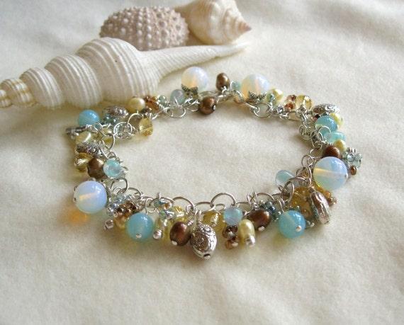 Opalite, citrine, pearl and silver bead dangle bracelet