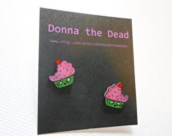 zombie cupcake stud earrings