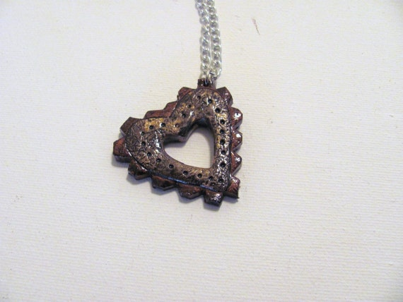 CLEARANCE small Heart shaped steampunk cog