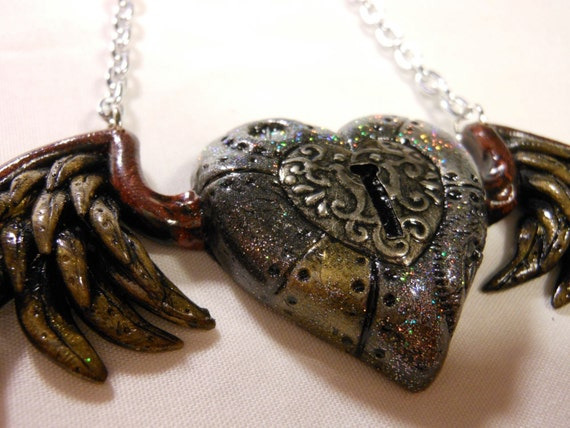 Steampunk heart with wings plus matching key necklace
