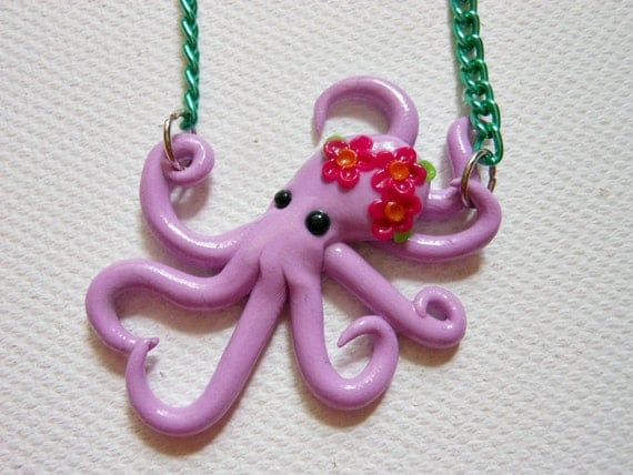 CLEARANCE Tiny octopus with flowers for kids