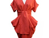 Sack Dress Coral Red Linen