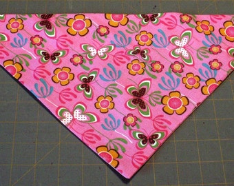 Dog Bandana, Flower, butterfly, pink, retro, seventies, funky, neckerchief, scarf