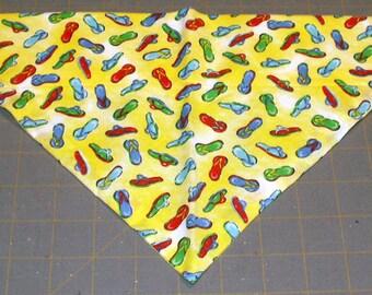 Dog Bandana, flip flop, Summer, Beach, Nautical, neckerchief