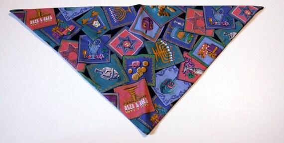 Hanukkah Menorah Handmade Dog Bandana cotton print