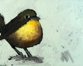 yellow chat bird original aceo painting by moulton