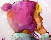 girl with fuschia hat original painting by moulton 5 x 5 inch