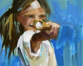 girl with ice cream original painting by moulton 6 x 8 inches (15 x 20 cm)