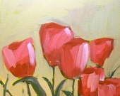 pink garden tulips original painting by moulton 10 x 10 inch