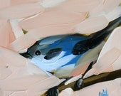 cerulean warbler no. 12 original painting by moulton 5 x 5 inch