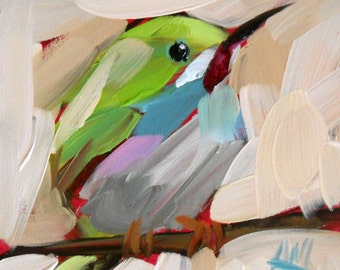 Tody Bird no. 3 Art Print by Angela Moulton 4 x 4 inch prattcreekart