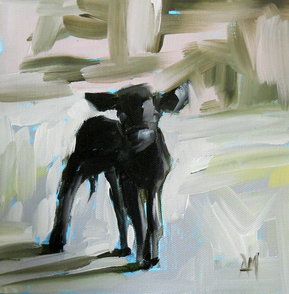 winter calf original painting by moulton 8 x 8 ich