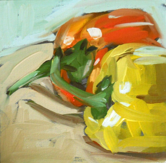 pair of peppers original painting by moulton 6 x 6 inch canvas 15 x 15 cm