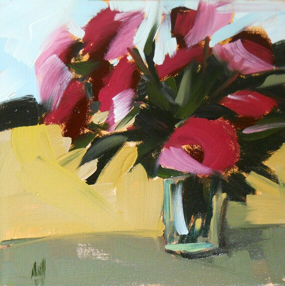 pink roses by window original painting by moulton 12 x 12 in (30 x 30 cm)