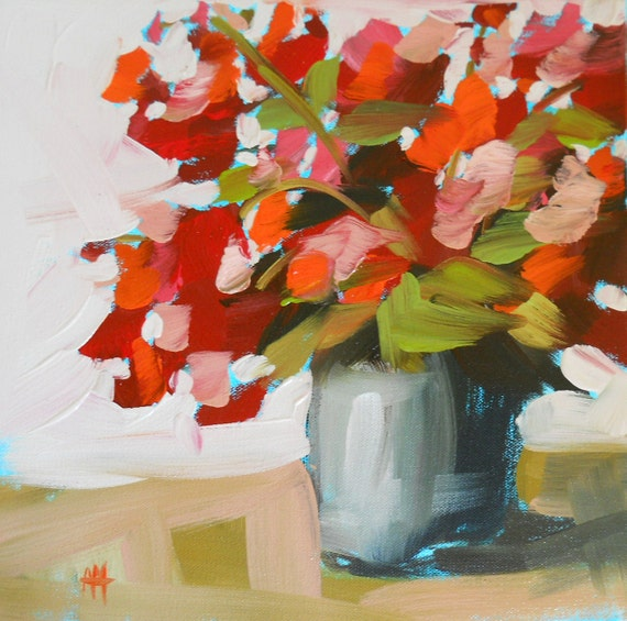 geraniums on the porch original painting by moulton 12 x 12 inch on HOLD for LREvans