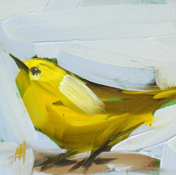 yellow warbler no. 10 original painting by moulton 4 x 4 inch
