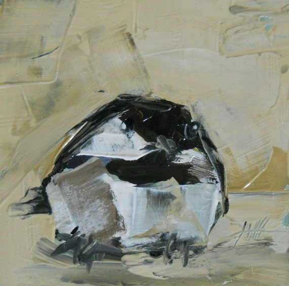 chickadee no. 80 original painting by moulton 4 x 4 inch