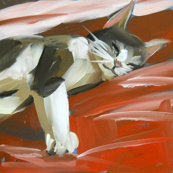 sleeping cat no. 3 original painting by moulton 6 x 6 inch