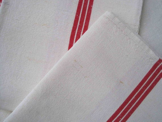 French metis linen tea towel, lovely unused fabric - great for drying dishes or to turn into cushions