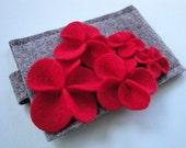 Cascading Red Felt Flower iPod/iPhone Sleeve