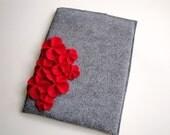 Felt iPad (padded) Cover/Sleeve/Protector with Cascading Red Felt Flowers