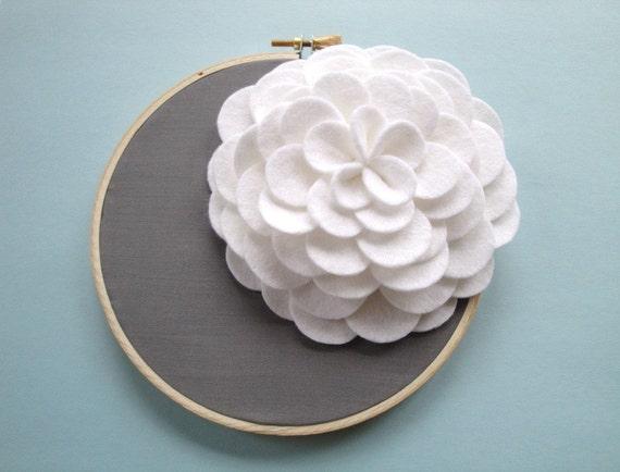 White Felt Flower Wall Art