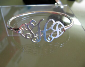 Sterling Silver Cut-Out Monogram Bracelet