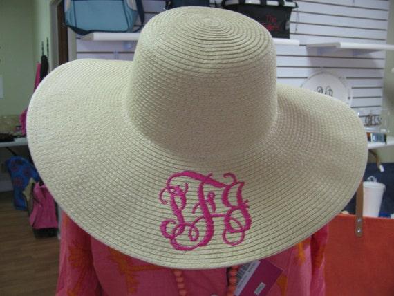 Natural Monogrammed Floppy Hat