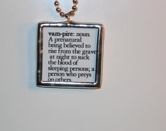 Vampire Stained Glass Vampire Definition Pendant Necklace Jewelry