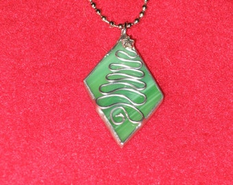 Christmas Tree Stained Glass & Wire Pendant Necklace