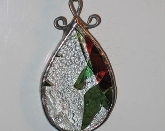 Christmas Necklace Confetti Stained Glass Pendant Jewelry