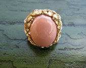 Beautiful and Classic Vintage Pink and Gold Cocktail Ring