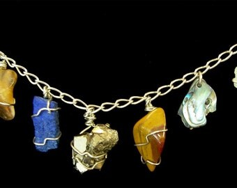 Name Necklace with the blessing of natural stones FREE SHIPPING Great Birthday or Mother's Day Gift