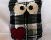 Plush Owl made of recycled fleece robe - black & white plaid with red heart (tall)