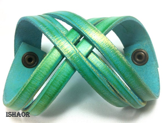 Valentines gift  leather bracelet - leather cuff bracelet - Turquoise - for men and women, Twisted colored wristband by Ishaor