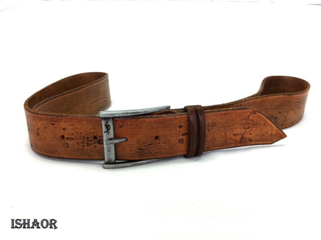 brown leather belt used vintage look tooled by ishaor