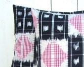 IKAT Pillow Cover , Black and Pink