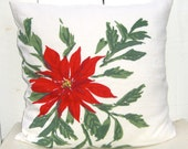 Christmas Pillow , Signed Vera  Vintage Fabric , Holiday Decor Red Poinsettia , 18 x 18 Cover