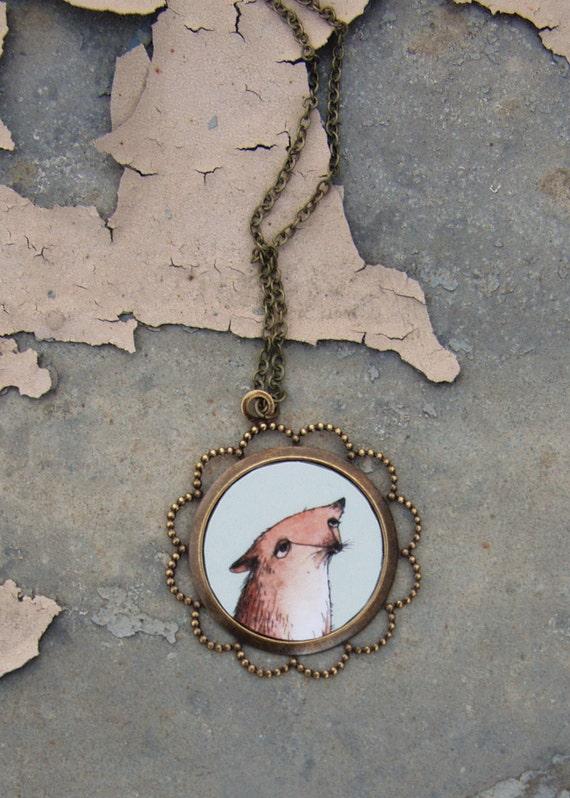 Fox In Love Portrait Necklace - Round