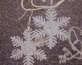 Giant Silver Glitter Holiday Snowflake Earrings FREE Shipping USA