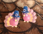 2 Pairs Gobble Gobble Cute Pilgrim Thanksgiving Turkey Earrings FREE Shipping USA
