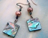 New Zealand Paua Shell Earrings with Handmade Copper Clay Metal Beads