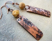 Textured Copper Clay Rectangle Drop Earrings with Ivory Rough Cut Czech Bead