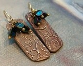 OOAK Bronze Metal Clay Dangle Earrings with Scroll Design and a Trio Cluster of Pinched Teal Czech Glass Beads and Handmade Ear Wires.