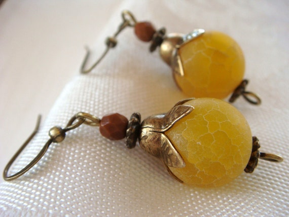Beaded Earrings Dangle Earrings. Yellow Lemon Drop Dangles with Natural Matte Smooth Yellow Crab Agate 12 mm Round Beads.